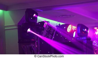 Stage lights at the concert with fog, Stage lights on a console, Lighting the concert stage, entertainment concert lighting on stage