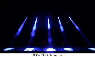 Stage Lights. Blue. Bright Stage Lights Flashing