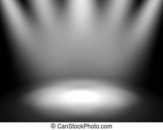 Empty theater stage with spot lights, 3d render