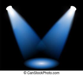 Stage lights in black background, vector illustration