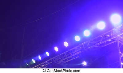 Stage lights on the top of the concert scene - Bright stage...