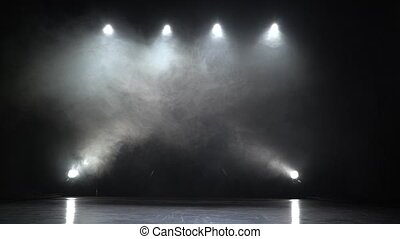 Stage lights. Square. smoke background