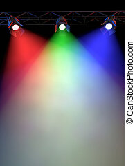 Stage Lights - A Stage Light Rack with 3 RG&B Colored...