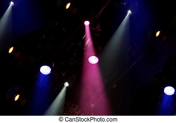 stage lights - large group of bright stage lights shining...