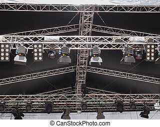 Stage lights used in live gig concert