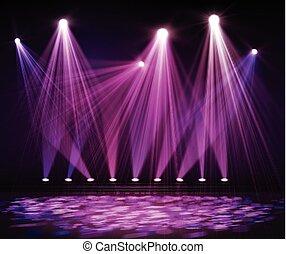 stage., lumières, divers, dark., projecteur, étape
