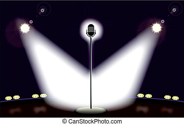 A microphone spot lit by two spotlights.