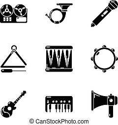 Stage musical icons set, simple style