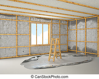 stage of repair in the room. 3d illustration