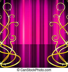 Stage Pattern Indicates Live Event And Abstract - Floral...