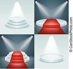 Stage podium set award ceremony illuminated 3d realistic design vector illustration