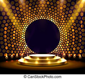 Stage podium with lighting, Stage Podium Scene with for Award Ceremony on golden Background.