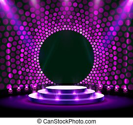 Stage podium with lighting, Stage Podium Scene with for Award Ceremony on purple Background.