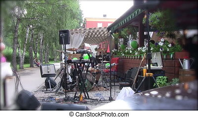 Stage preparations before live concert