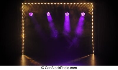Stage purple and yellow lights shining at studio. Lighting ...