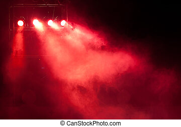 stage red spot light - concert stage with red spot light and...
