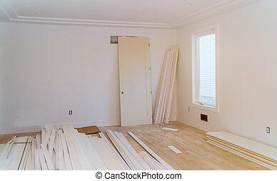 stage., sheetrock, összeadás, épület, remodel., szerkesztés, alatt, új, drywall