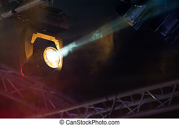 stage spotlights - spotlight on a theatre stage lighting rig