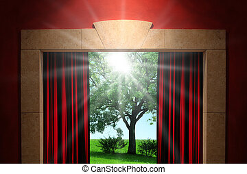 Stage or window with green nature background