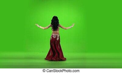 stage., taniec, screen., arab, tancerz, zielony, brzuch, ...