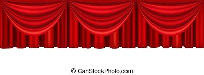 stage., théâtre, rideaux, rouges