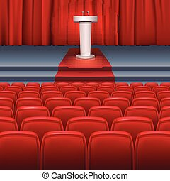 Stage with a red curtain
