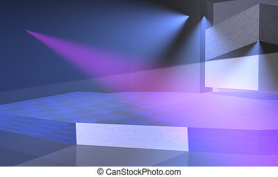 Stage with blue and purple lights