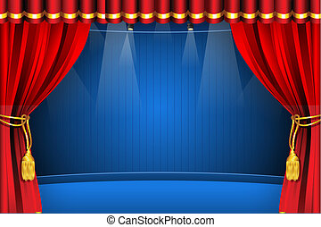 Stage with Curtain - illustration of stage with flash light ...