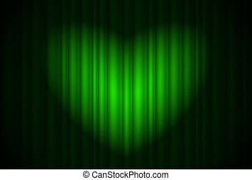 Stage with green curtain and spotlight great, heart-shaped