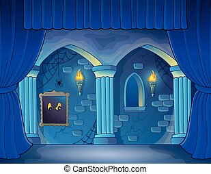 Stage with haunted interior theme - eps10 vector...
