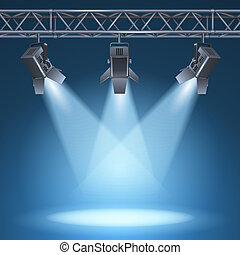 Blank stage with bright lights vector illustration