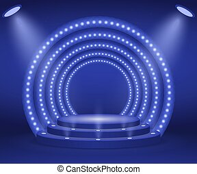 Stage with lights for awards ceremony. Illuminated Round...
