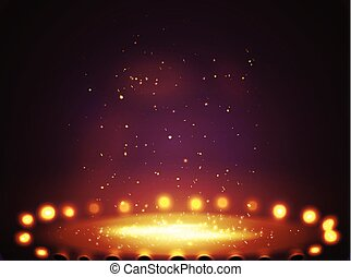 Stage with lights, shine and spotlights.