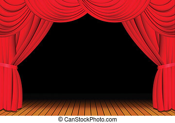 Stage with opened red theatre curtain for a show