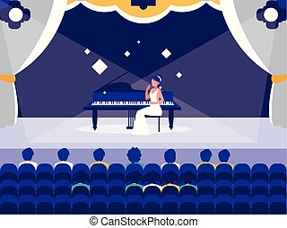 stage with pianist show vector illustration design