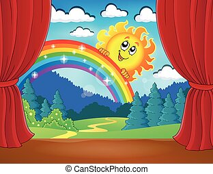 Stage with rainbow and sun
