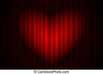 Stage with red curtain and spotlight great, heart-shaped. Illustration of the designer