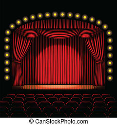 stage with red curtain background