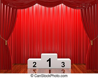 Stage with red curtains and podium