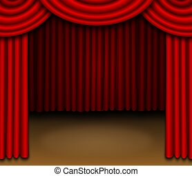 Stage With Red Draped Curtains   This Illustration Features.