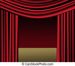 Stage With Red Velvet Curtains