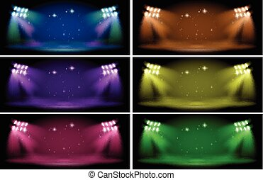 Stage with six color backgrounds
