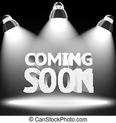 Stage with the spot light projectors lightning -Coming Soon- message for your business, presentations, offers etc. Vector