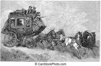 Stagecoach - A stagecoach is a type of covered wagon for...