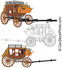 stagecoach, sem, cavalos