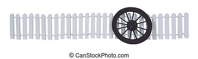 Stagecoach Wheel Against a White Picket Fence