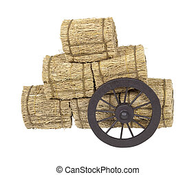 Stagecoach Wheel Leaning on Bales of Hay - Wooden western...