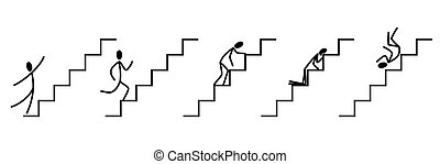 Stages of climbing and falling down the stairs. Manager's career.