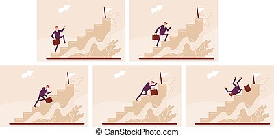 Stages of climbing the stairs. Manager career. Color vector cartoon illustration.