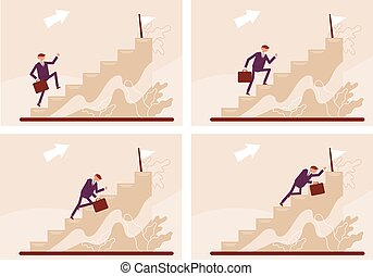 Stages of climbing the stairs. Manager's career. Color vector cartoon illustration.